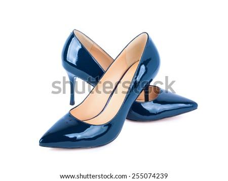 Beautiful blue classic women shoes isolated on white background - stock photo