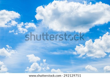 Beautiful blue cloudy sky with clouds after rain