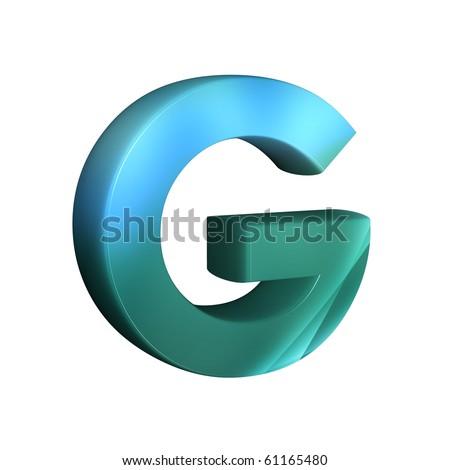beautiful blue 3d font   G Logo 3d