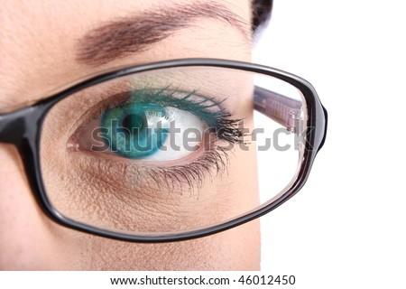 Beautiful blue eye closeup - stock photo