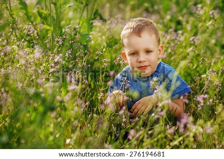 Beautiful blue-eyed little boy hiding in tall grass squatting - stock photo
