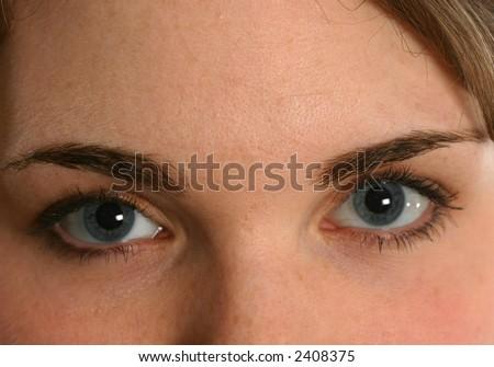 Beautiful blue eyes, female - stock photo