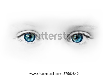 beautiful blue eyes of the little girl - stock photo