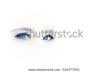 beautiful blue eyes of the little girl isolated