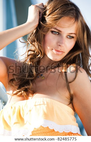 beautiful blue eyes woman outdoor summer  portrait - stock photo