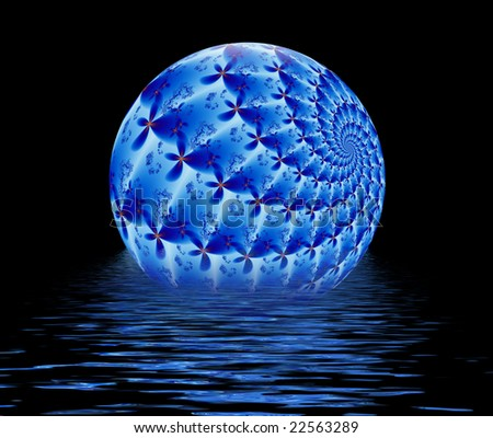 Beautiful blue fractal ball floating in water ripples over black background with copy space for text