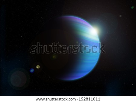 beautiful blue gas planet graphic