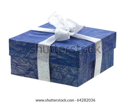 Beautiful blue gift isolated on white background - stock photo