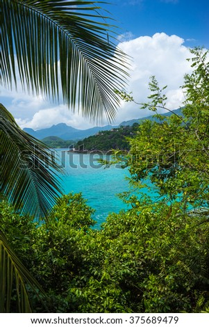 Beautiful blue lagoon overlooking tropical island on Mahe Seychelles - stock photo