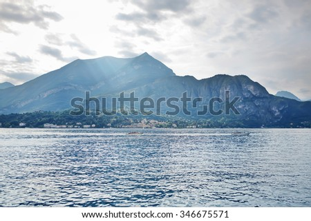 Beautiful blue lake and mountains landscape honeymoon in europe
