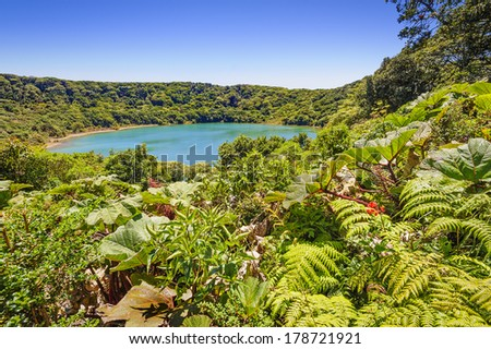 Beautiful Blue lake near the Poas Volcano in Costa Rica. - stock photo