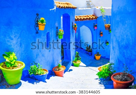 Beautiful blue medina of Chefchaouen city in Morocco, North Afri - stock photo