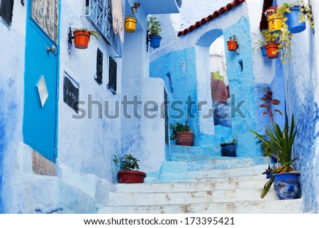 Beautiful blue medina of Chefchaouen city in Morocco, North Africa - stock photo