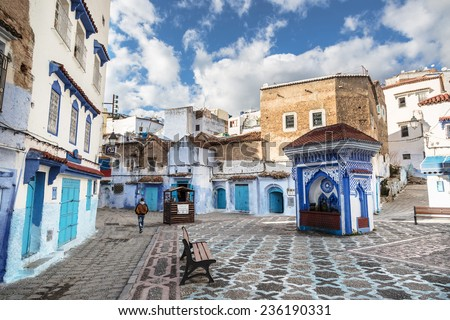 Beautiful blue medina of Chefchaouen in Morocco - stock photo
