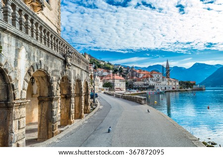 Beautiful blue morning in Perast old town - stock photo