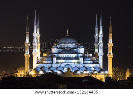 Beautiful Blue Mosque (Sultanahmet), Istanbul - stock photo