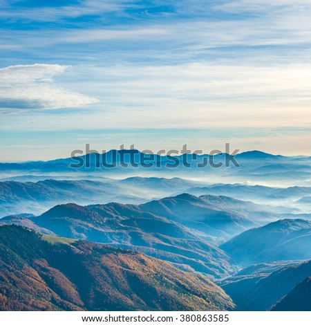 Beautiful blue mountains and hills at sunset time - stock photo