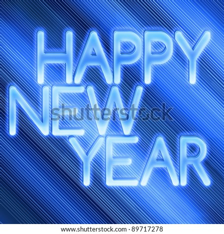 Beautiful blue New year background - stock photo