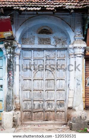 Beautiful blue old Gates in Kochi, Kerala, India - stock photo