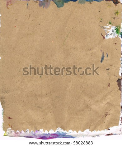 Beautiful blue, purple and green paint splatters on classic brown paper- Great for textures and backgrounds for your projects! - stock photo