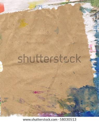 Beautiful blue, purple and white paint splatters on classic brown paper- Great for textures and backgrounds for your projects! - stock photo
