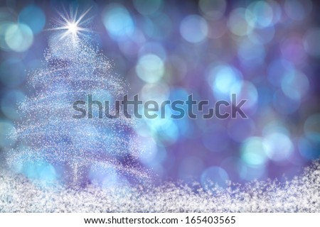 Beautiful Blue Purple Aqua Christmas Tree Background with Snow and Stars - stock photo