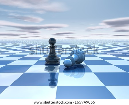 beautiful blue, reflective abstract background with chess pawns white and black, chessboard and sky - stock photo