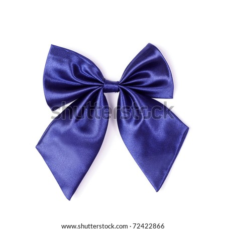 Beautiful blue satin gift bow, isolated on white