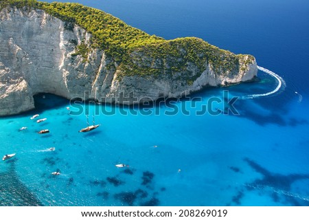 Beautiful blue sea and cliffs near Navagio Beach in Zakynthos Island Greece - stock photo