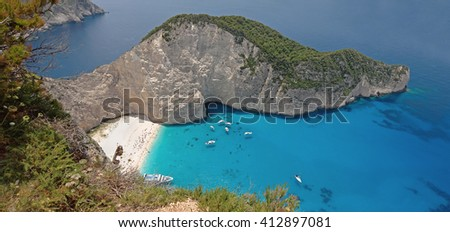 Beautiful blue sea and cliffs near Navagio Beach in Zakynthos Island Greece - stock photo