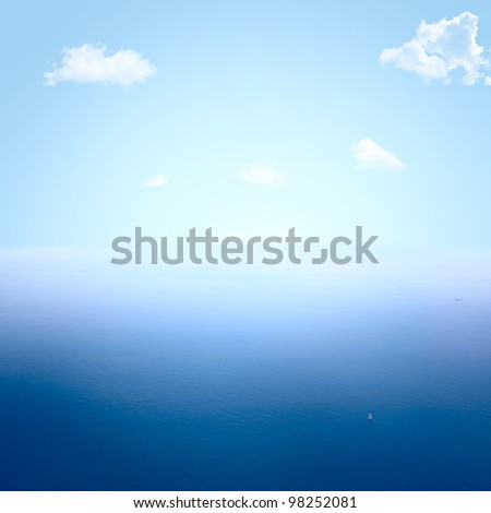 Beautiful blue sea and sky - stock photo