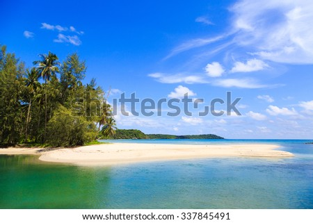 Beautiful blue sea and sky at Koh kood island, Thailand.
