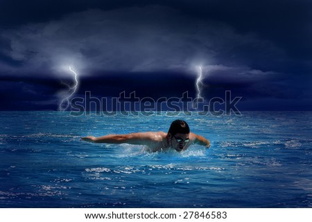 Beautiful blue sea with clouds and sunlight on sky and swimmer - stock photo