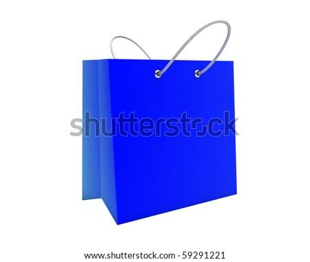 beautiful blue shopping bag - stock photo
