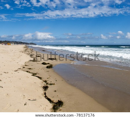 Beautiful Blue Sky and California Coast and Beach - stock photo