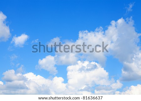 Beautiful blue sky and clouds. Day light.