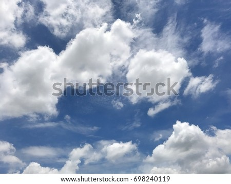 Beautiful blue sky and clouds on day for background