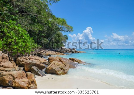 Beautiful blue sky and emerald sea at Tachai Island, Phuket, Thailand