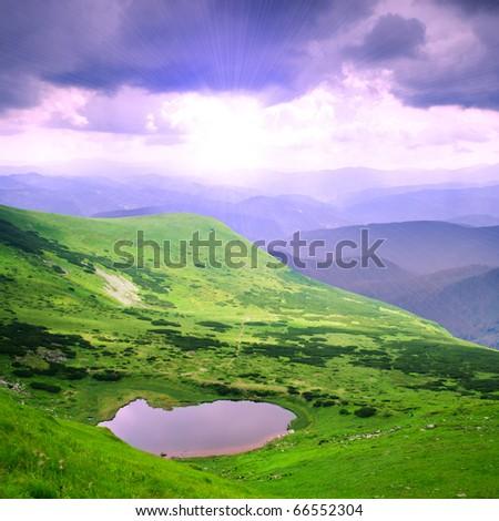 Beautiful blue sky and sundown Carpathian mountains - stock photo