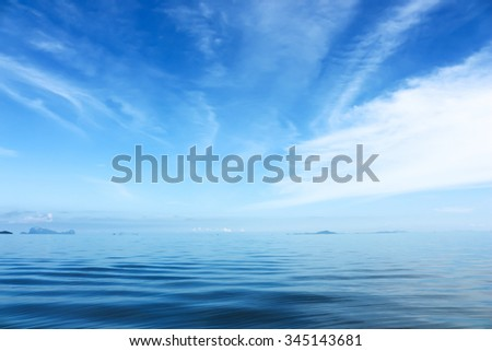 Beautiful blue sky and white cloud over the sea.