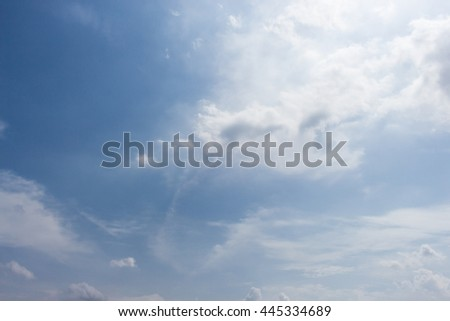 Beautiful Blue Sky background Template With Some Space for Input Text Message   - stock photo