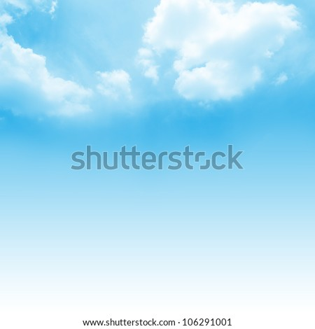Beautiful Blue Sky Background Template With Some Space for Input Text Message Below Isolated on Blue - stock photo