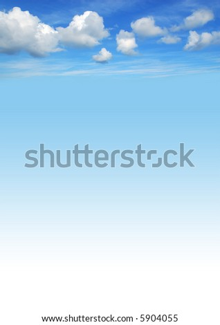 beautiful blue sky background with white fluffy clouds - stock photo