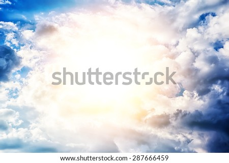 Beautiful blue sky clouds background