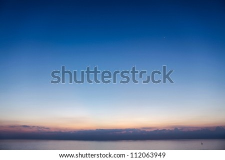 Beautiful blue sky over the Mediterranean Sea just before sunrise