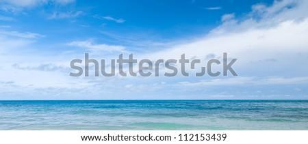 Beautiful blue sky panoramic sea view - stock photo