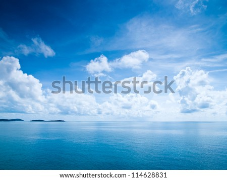 Beautiful blue sky sea view - stock photo
