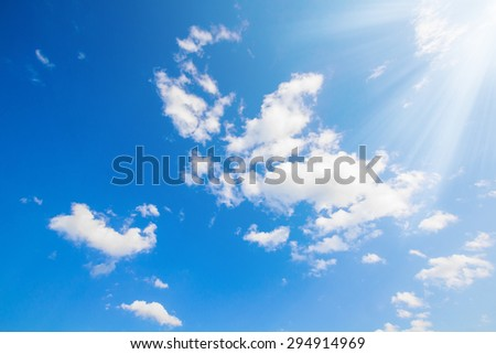 Beautiful blue sky with clouds - stock photo