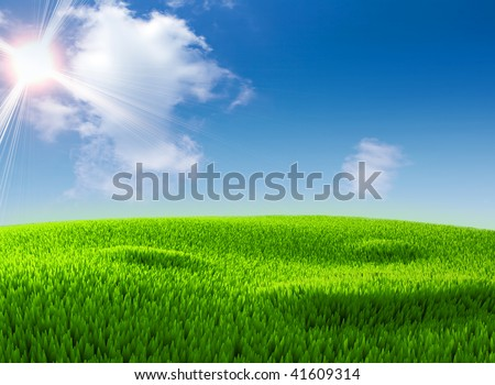 Beautiful blue sky with clouds and green grass