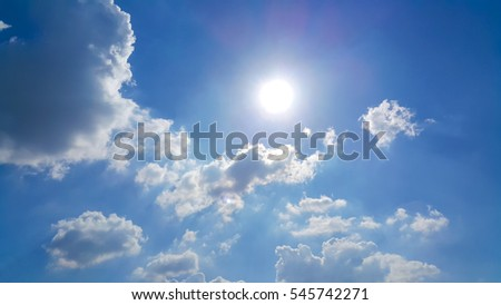 Beautiful blue sky with clouds and sun